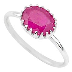 925 sterling silver 1.87cts natural red ruby oval solitaire ring size 6.5 t5234