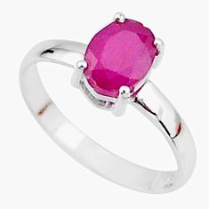 925 sterling silver 2.22cts natural red ruby oval solitaire ring size 7.5 t7291