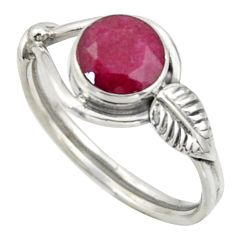925 sterling silver 2.57cts natural red ruby round solitaire ring size 8 r41528