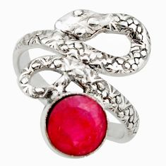 925 sterling silver 3.28cts natural red ruby snake ring jewelry size 7.5 d46253