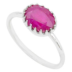 925 sterling silver 1.82cts natural red ruby solitaire ring jewelry size 7 t5228