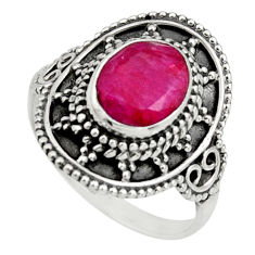 925 sterling silver 3.19cts natural red ruby solitaire ring size 7.5 r26764