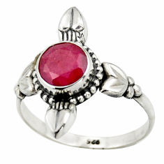 925 sterling silver 2.72cts natural red ruby solitaire ring size 8.5 r41432