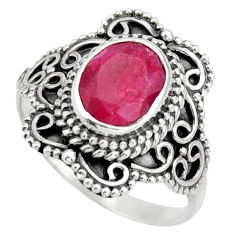 925 sterling silver 3.11cts natural red ruby solitaire ring size 7 r26964