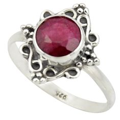 925 sterling silver 2.37cts natural red ruby solitaire ring size 8 r41570