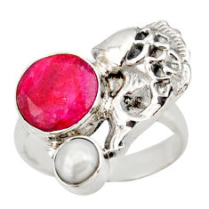 925 sterling silver 6.62cts natural red ruby white pearl fish ring size 7 d46136