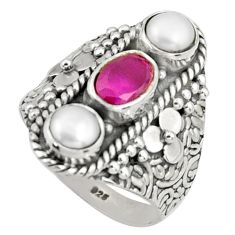 925 sterling silver 4.07cts natural red ruby white pearl ring size 7.5 r38007