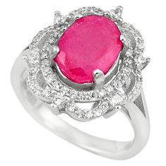 925 sterling silver natural red ruby white topaz ring jewelry size 6.5 c17767