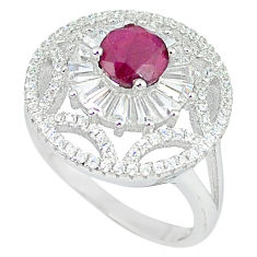 925 sterling silver natural red ruby white topaz ring jewelry size 6 c17778