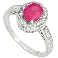 925 sterling silver natural red ruby white topaz ring jewelry size 8 c15749