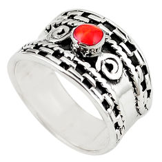 925 sterling silver natural red sponge coral ring jewelry size 8 c12347
