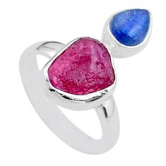 925 sterling silver 8.06cts natural ruby raw fancy kyanite ring size 8 t48975