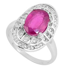 925 sterling silver 5.38cts natural red ruby white topaz ring size 6.5 c17717