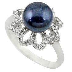 925 sterling silver natural titanium pearl round topaz ring size 8 c22314