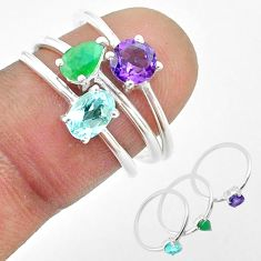 925 sterling silver 2.98cts natural topaz emerald topaz 3 rings size 7 t50904