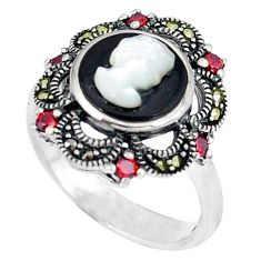 925 sterling silver natural white blister pearl marcasite ring size 7.5 c21484
