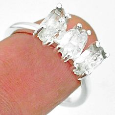 925 sterling silver 6.27cts natural white herkimer diamond ring size 7 t15332