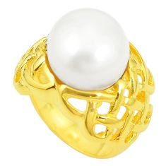 925 sterling silver natural white pearl 14k gold ring jewelry size 5.5 c23977