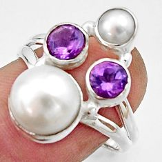925 sterling silver 5.78cts natural white pearl amethyst ring size 7 r22948