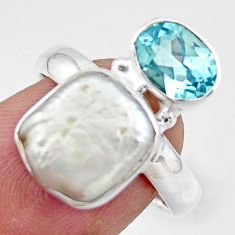 925 sterling silver 7.19cts natural white pearl blue topaz ring size 7 r46908