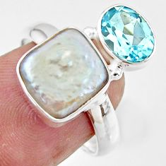 925 sterling silver 7.29cts natural white pearl blue topaz ring size 8 r46911