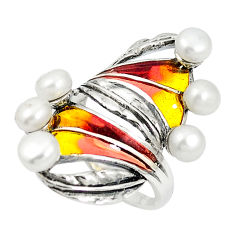 925 sterling silver natural white pearl enamel ring jewelry size 7.5 c20764