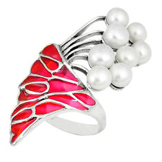 925 sterling silver natural white pearl enamel ring jewelry size 7.5 c20777