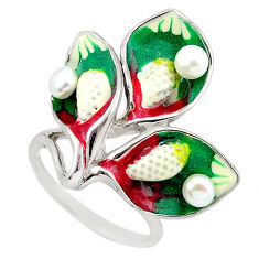 925 sterling silver natural white pearl enamel ring jewelry size 7 c26172