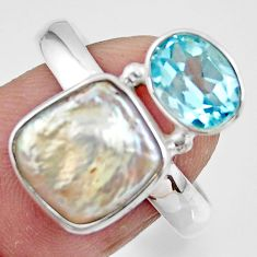 925 sterling silver 7.15cts natural white pearl fancy topaz ring size 9 r46904