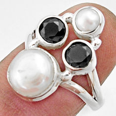 925 sterling silver 5.52cts natural white pearl onyx ring jewelry size 7 r22955