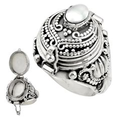 925 sterling silver 1.10cts natural white pearl poison box ring size 7 r41193