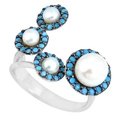 925 sterling silver natural white pearl round adjustable ring size 5 c26191