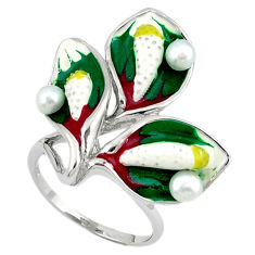 925 sterling silver natural white pearl round enamel ring size 7 c16800