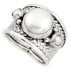 925 sterling silver 6.32cts natural white pearl round ring jewelry size 7 d45958