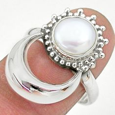 925 sterling silver 3.14cts natural white pearl round ring jewelry size 8 t6411