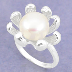 925 sterling silver natural white pearl round ring jewelry size 9 c23890