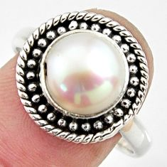925 sterling silver 5.08cts natural white pearl round shape ring size 8.5 r24980