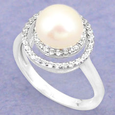 925 sterling silver natural white pearl round topaz ring size 6.5 c25075