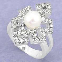925 sterling silver natural white pearl round topaz ring jewelry size 9 c25280
