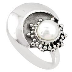925 sterling silver 1.45cts natural white pearl solitaire ring size 5.5 r67392
