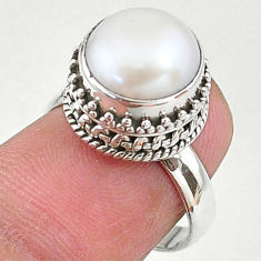 925 sterling silver 5.31cts natural white pearl solitaire ring size 6 t16074