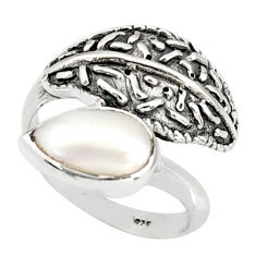 925 sterling silver 2.23cts natural white pearl solitaire ring size 7 r36918