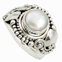 925 sterling silver 3.41cts natural white pearl solitaire ring size 8 r25064