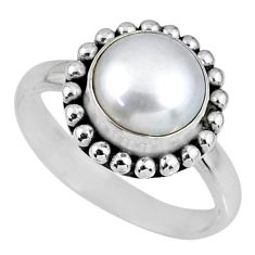 925 sterling silver 4.90cts natural white pearl solitaire ring size 8 r57914