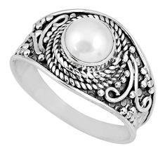 925 sterling silver 1.38cts natural white pearl solitaire ring size 8 r58080