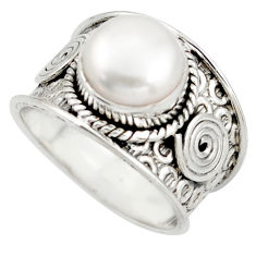 925 sterling silver 5.18cts natural white pearl solitaire ring size 9 d45917