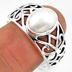 925 sterling silver 3.25cts natural white pearl solitaire ring size 9 r54675