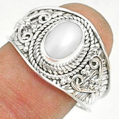 925 sterling silver 2.21cts natural white pearl solitaire ring size 9 r81449
