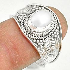 925 sterling silver 2.14cts natural white pearl solitaire ring size 9 r81456