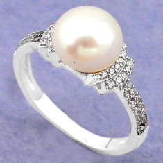 925 sterling silver natural white pearl topaz ring jewelry size 7.5 c22310